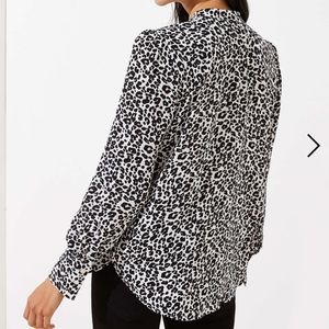 Ann Taylor Tops - Ann Taylor Blk/White Animal Print Button up shirt